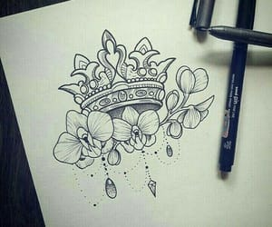 tattoo, crown, and drawing image