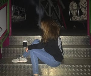 alone, carousel, and girl image