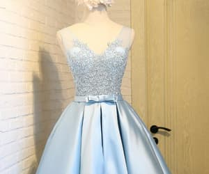 blue prom dress, sleeveless prom dress, and a-line prom dress image