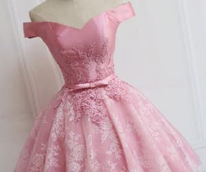 pink prom dress, homecoming dresses a-line, and prom dress short image