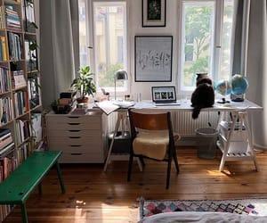 books, cat, and decor image