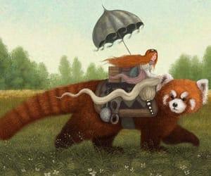fantasy, red, and panda image