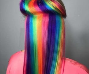 hair, rainbow, and green image