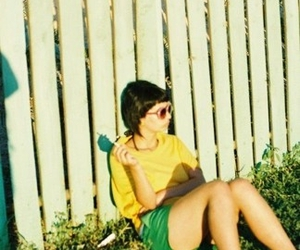 fence, sunglasses, and girl image