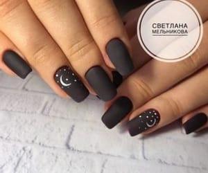 black nails, moon, and nails image