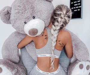 fashion, girl, and teddy bear image