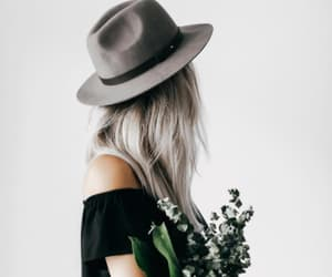 flowers, hat, and girl image