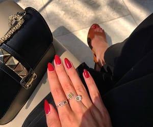bag, heels, and nail polish image