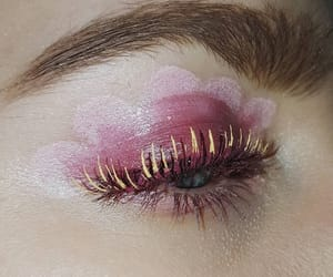 eye makeup, flower, and pink image