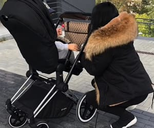 coat, gucci, and stroller image