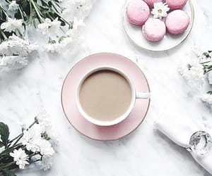 coffee, flowers, and macaroons image