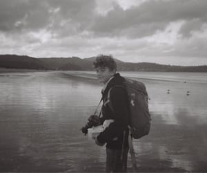 b&w, disposable camera, and beach image