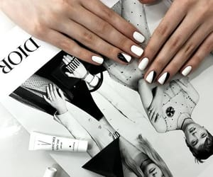 black and white, chic, and nails image
