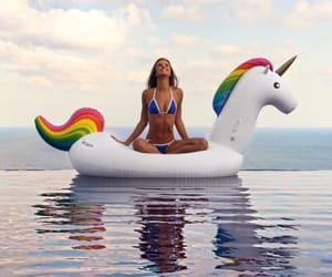 girl, swimming pool, and licorne image