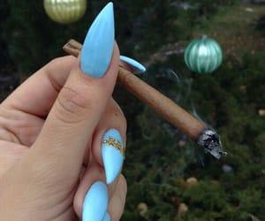 nails, blue, and smoke image