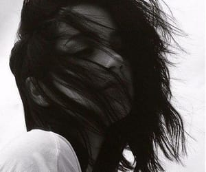 hair, black, and black and white image