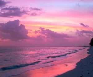 beaches, paradise, and sundown image