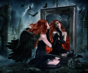 mirror castle, redhead dark angel, and crows skulls image