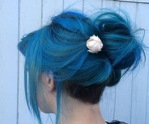 blue hair, colored hair, and colorful image
