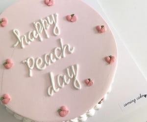 cake, peach, and food image