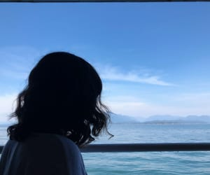 curls, ocean, and blue image