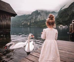 girl, Swan, and kids image