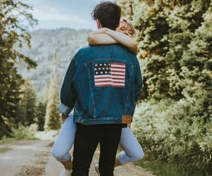 america, couple, and forest image