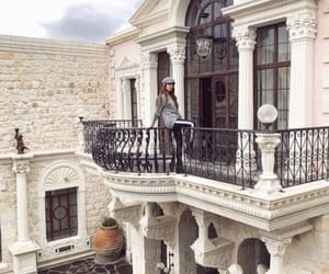 balcony, mansion, and buildings image