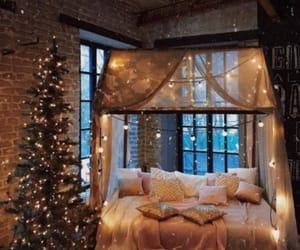 bedroom, lights, and christmas image
