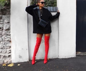 boots, red, and thigh high image