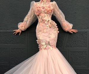 dress, haute couture, and peachy image