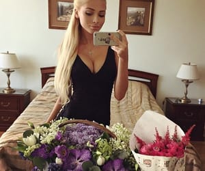 flowers, pretty, and selfie image