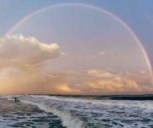 blue, rainbow, and sunrise image