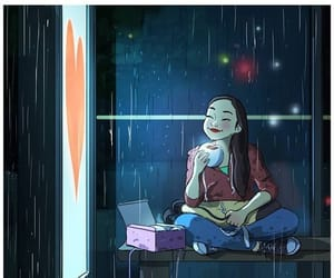 girl, illustration, and rain image