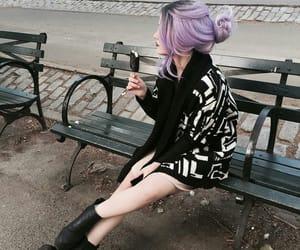 girl, purple hair, and black image