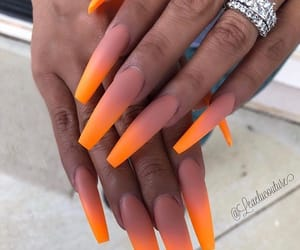 nails, orange, and ombre image