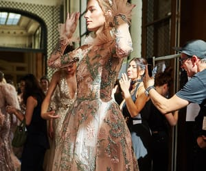 dress, gold, and runway image