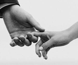 love, black and white, and hands image