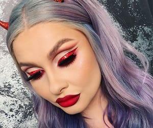 Halloween, halloween make up, and halloween devil make up image
