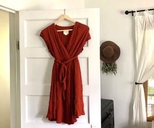 rust, wrap dress, and anthropologie image