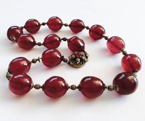 etsy, vintage necklace, and cranberry pink beads image