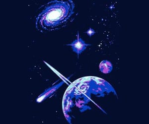 galaxy, purple, and planets image