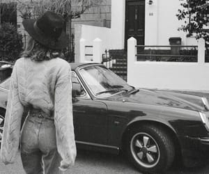 black and white, car, and girl image