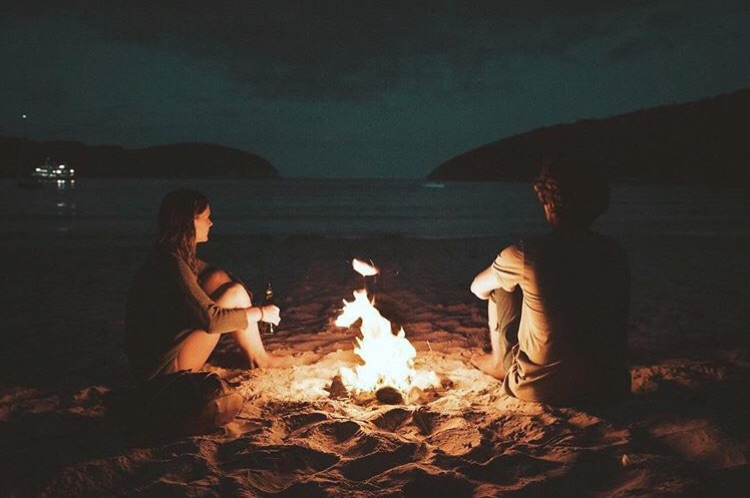 fire, night, and romantic image