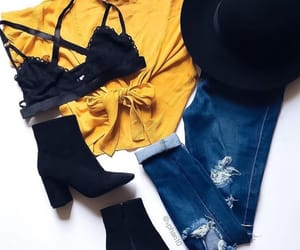 black boots, black hat, and ripped jeans image