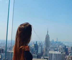 blue sky, hair, and new york image