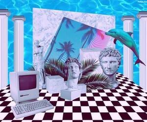 blue and vaporwave image