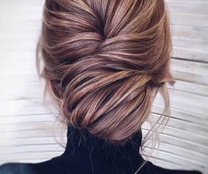 fall, hairstyle, and hair bun image