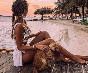 adorable, beach, and beauty image