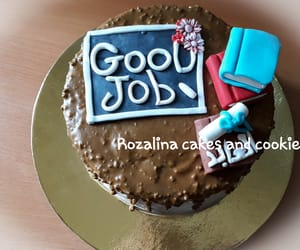 books, cake, and good job image